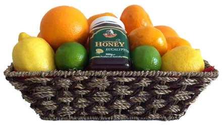 GET WELL GIFT CITRUS FRUIT BASKET + AUSTRALIAN EUCALYPTUS HONEY