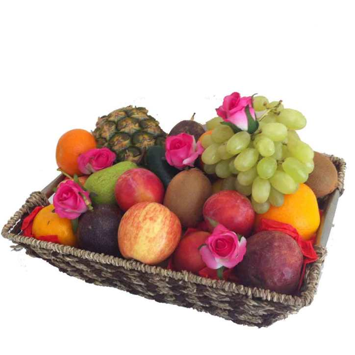 Fruit Basket + Pink Silk Roses - Free Delivery