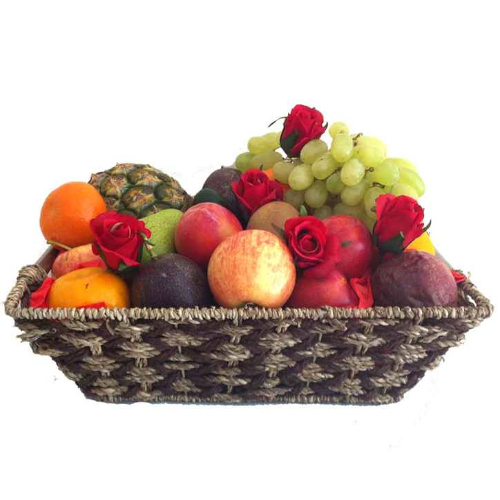 Fruit Basket + Red Roses - Free Delivery