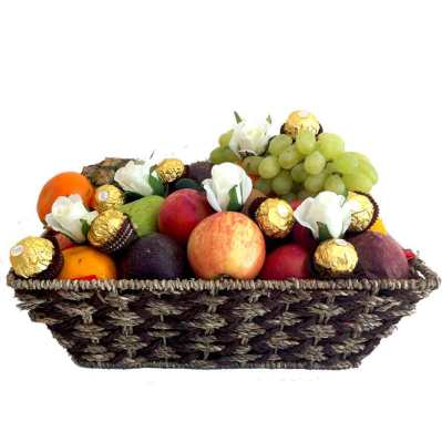 Fruit Basket + White Silk Roses + Ferrero Chocolates