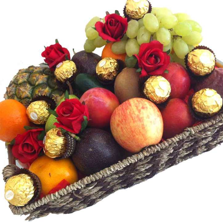 Fruit Basket + Ferrero Chocolates + Red Silk Roses - Delivered Free