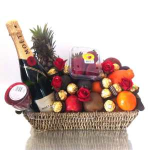 Fruit Basket with Moet + Chocolate