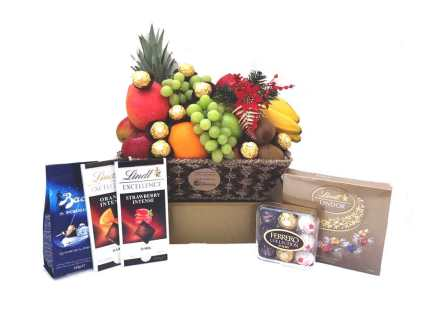 Chocolate Deluxe Fruit Basket Christmas Gift