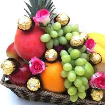 Fruit Baskets with Roses + Chocolate Only