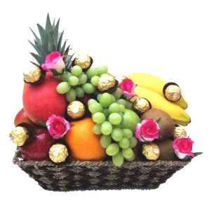 Chocolate Only and Roses Fruit Basket