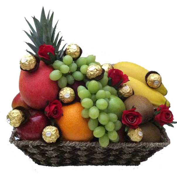 Fruit-Baket-Only-+-red-Roses-+-Ferrero-Chocolate